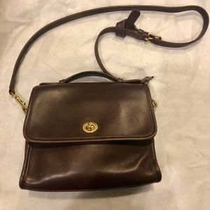 Vintage Coach court leather crossbody bag brown